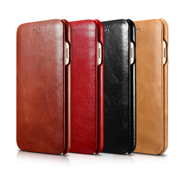 on sale 5bfb2 45176 US $18.41 11% OFF|icarer for iPhone 8 Case Genuine Leather Wallet Case for  iPhone 7 Plus iPhone 6 6s 8 Plus Curve Edge Flip Folio Magnetic Cover-in ...
