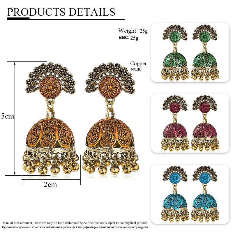 H: הייד אתני תכשיטי הודי Jhumka ארוך קטן פעמון ציצית עגילי עתיק אתני רב צבע זרוק עגילי Brincos תכשיטים