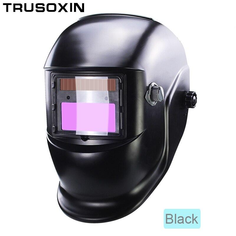 Солнечная батарея Li, внешний контроль, самозатемняющийся сварочный шлем/сварочные очки/Сварочная маска, Сварочная маска - Цвет: Black