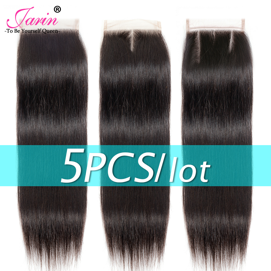 5 pieces lot 4x4 Straight Hair Lace Closure Brazilian Human Hair Closure Remy Free Middle Three