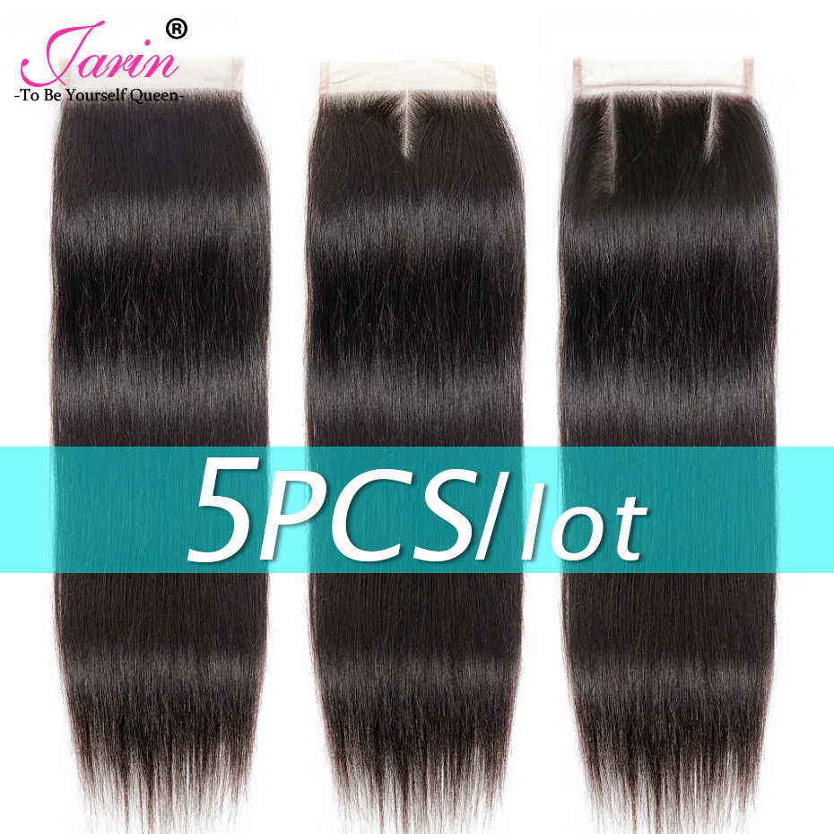 5 pieces/lot 4x4 Straight Hair Lace Closure Brazilian Human Hair Closure Remy Free Middle Three Part 8-22 Inches Can Do Wigs