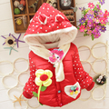 New Girls Jacket Kids Winter Keeping Warm Cartoon Sun Flower Cotton Hoodies Coat Children Casual Outerwear Kids Clothes