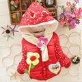 New Girls Jacket Kids Winter Keeping Warm Cartoon Sun Flower Cotton Hoodies Coat Children Casual Outerwear Kids Clothes