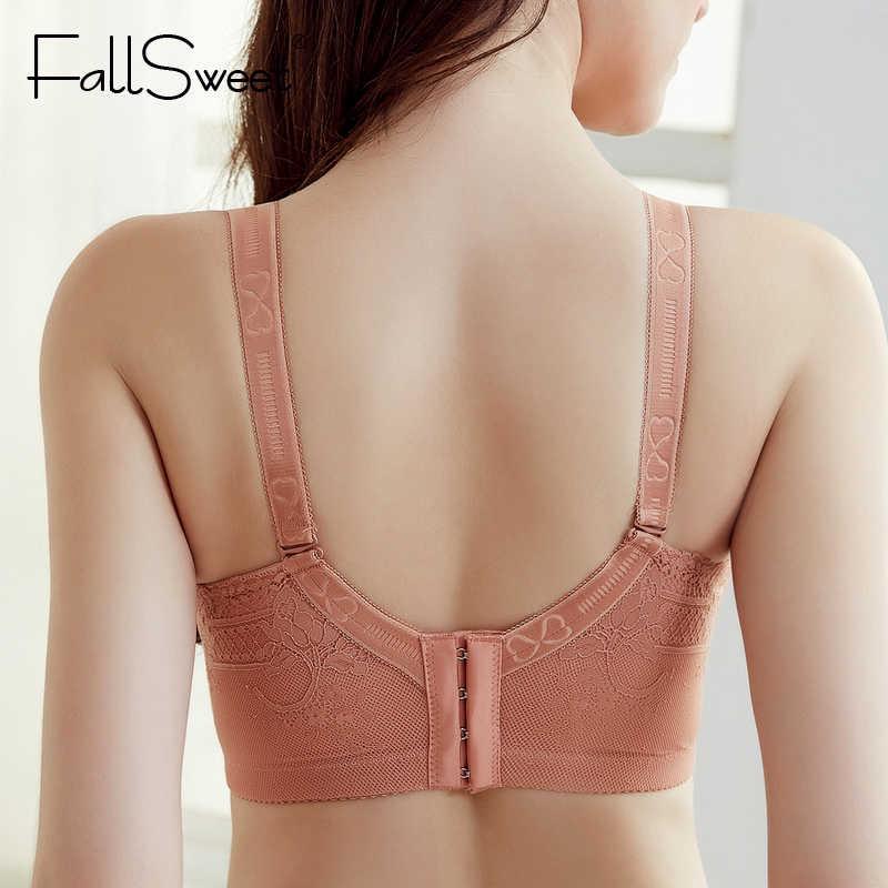 FallSweet Wireless Bra for Women Plus Size Lace Brassiere 34 to 50 Back Closure Underwear Black White