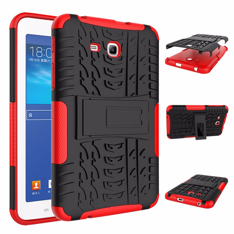 RUGGED ARMOR Samsung Galaxy Tab 3 Lite 7.0 Inch 3V T110 T111 Soft Case Casing Back Cover Silicone Shockproof Kick Stand Anti Shock