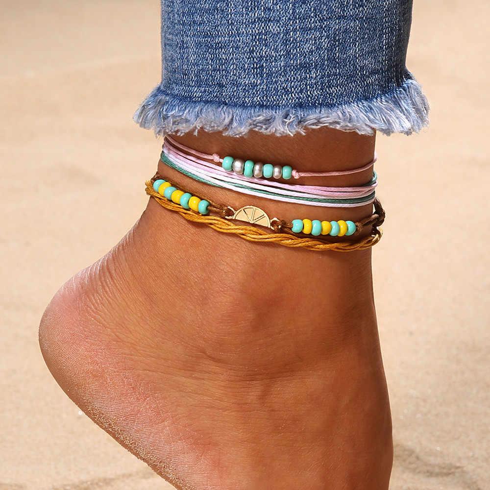 Seksi plaj meyve halhal kadınlar için erkekler altın renk yalınayak zincir ayak bileği bilezik ayak takısı plaj yaz ayak bileği bilezik