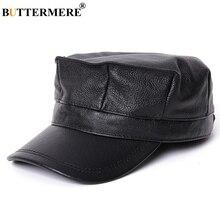 BUTTERMERE de cuero sombrero militar para los hombres negro azul marino Vintage  de ejército de hombre c4ea1799060
