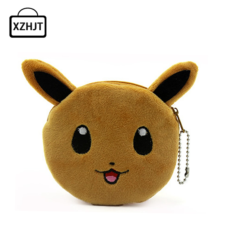 Cartoon Coin Purse Cute Pokemon Eevee Baby Girl Plush Zipper Change Purse Wallet Holders Mini Money Bag For Kids Gift 5 pcs lot cartoon anime wallet wholesale nintendo game pocket monster charizard pikachu wallet poke wallet pokemon go billetera