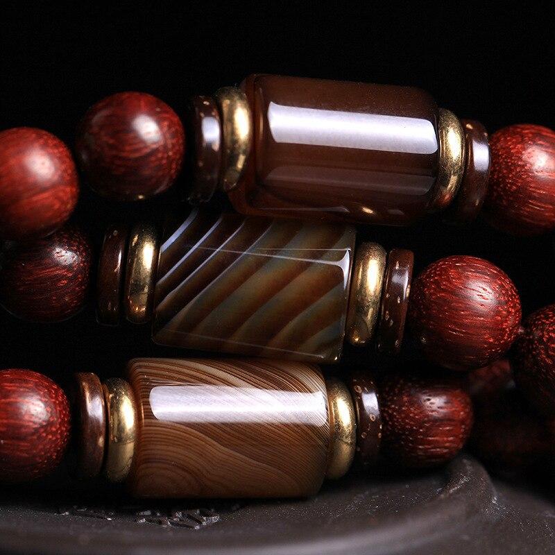 Feng shuiPure lucidatura manuale autentica lobulare legno di sangue di pollo in legno di palissandro rosso 108 perline stringa la mano partita sardonica in legno di palissandro - 5