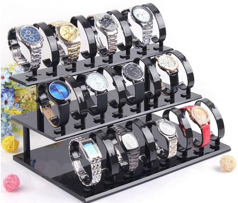 Livraison gratuite 3-Tier amovible acrylique montre Stand titulaire 24 siège bijoux Bracelet présentoir support