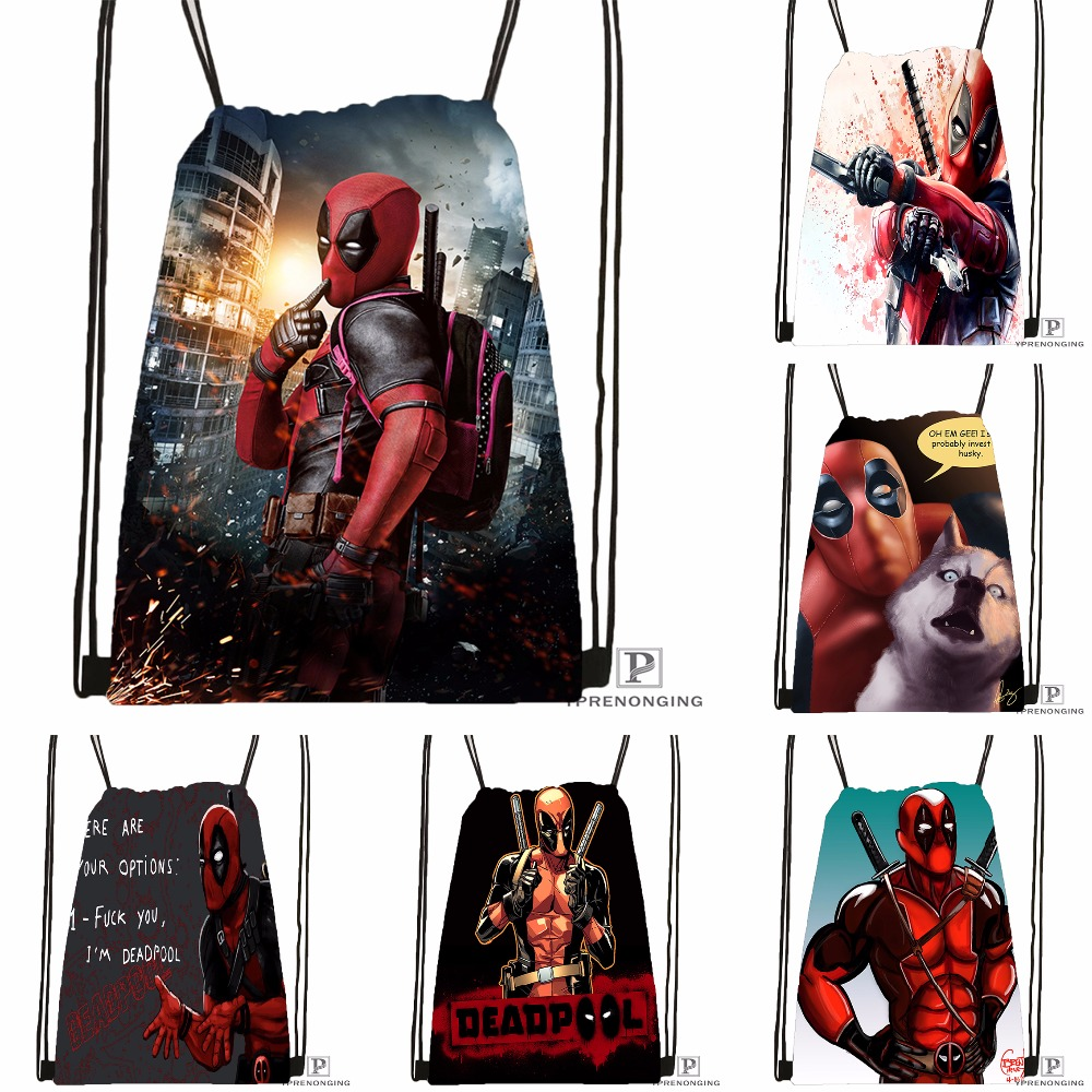 Custom Deadpool Drawstring Backpack Bag Cute Daypack Kids Satchel (Black Back) 31x40cm#180531-03-28