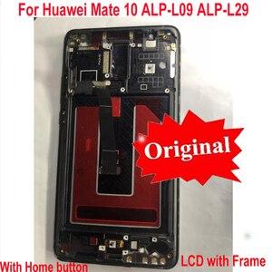 Image 2 - 100% Orijinal Test Çalışma Huawei Mate 10 Için ALP L09 ALP L29 lcd ekran dokunmatik ekranlı sayısallaştırıcı grup Sensörü + Çerçeve