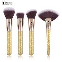 DUcare 4pcs Set Professional Make Up Brushes Contour Powder Foundation Fan Brushes For Makeup Face Makeup
