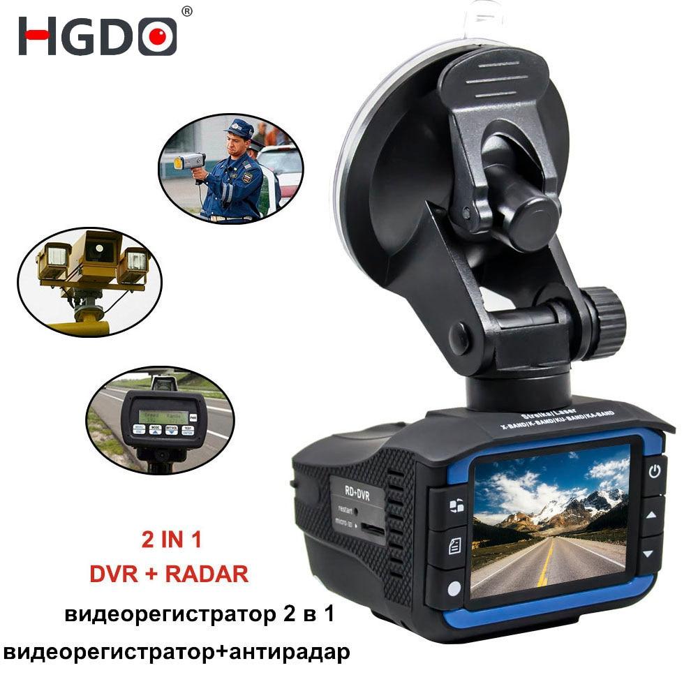 Nouveau 2 dans 1 Voiture DVR Détecteur de Radar Dash Cam Anti Radar Nuit Vision 2.7 pouce HD LCD Affichage 720 p Russe Anglais Voix Dashcam
