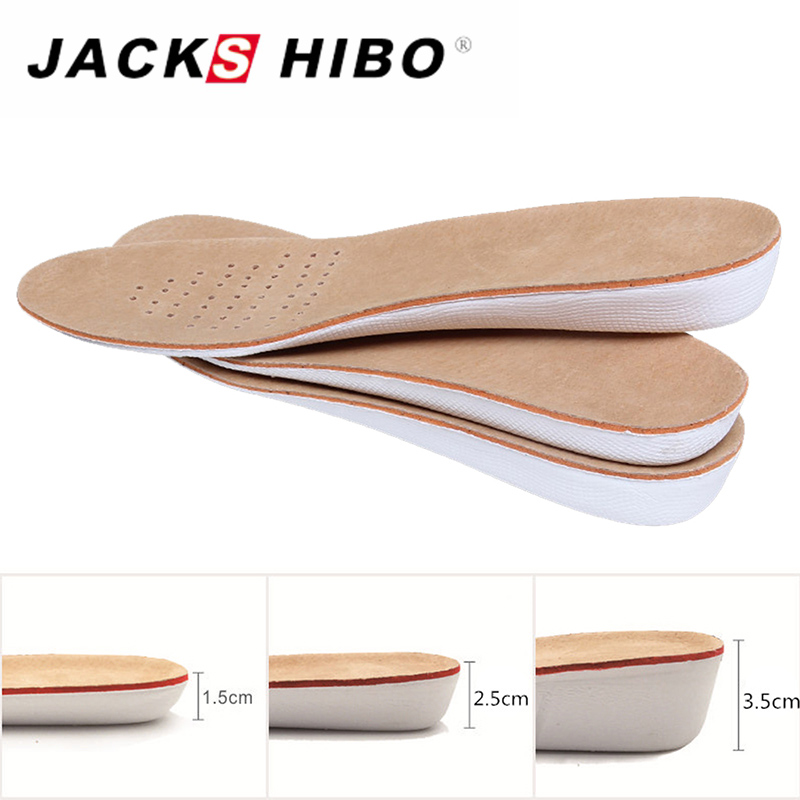 JACKSHIBO Men Women Shoe Insoles Height Increase Insole Pigskin Shoe Pad Inserts Foot Pad Accessories for Shoes kotlikoff arch support insoles massage pads for shoes insole foot care shock women men shoes pad shoe inserts shoe accessories