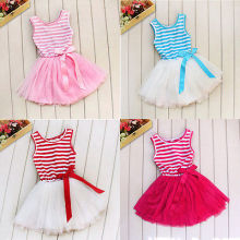 2016 New Girls Kids Baby Christmas Party Floral Flower Striped Tulle Dresses