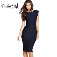 Fantaist Women O Neck Open Back Pleated Ribbed Striped Solid Brief Cocktail Party Bandage Bodycon Pencil