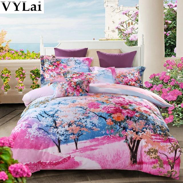 Pink Flower Girls 3d Bed Linen Set Queen King Size Bedding