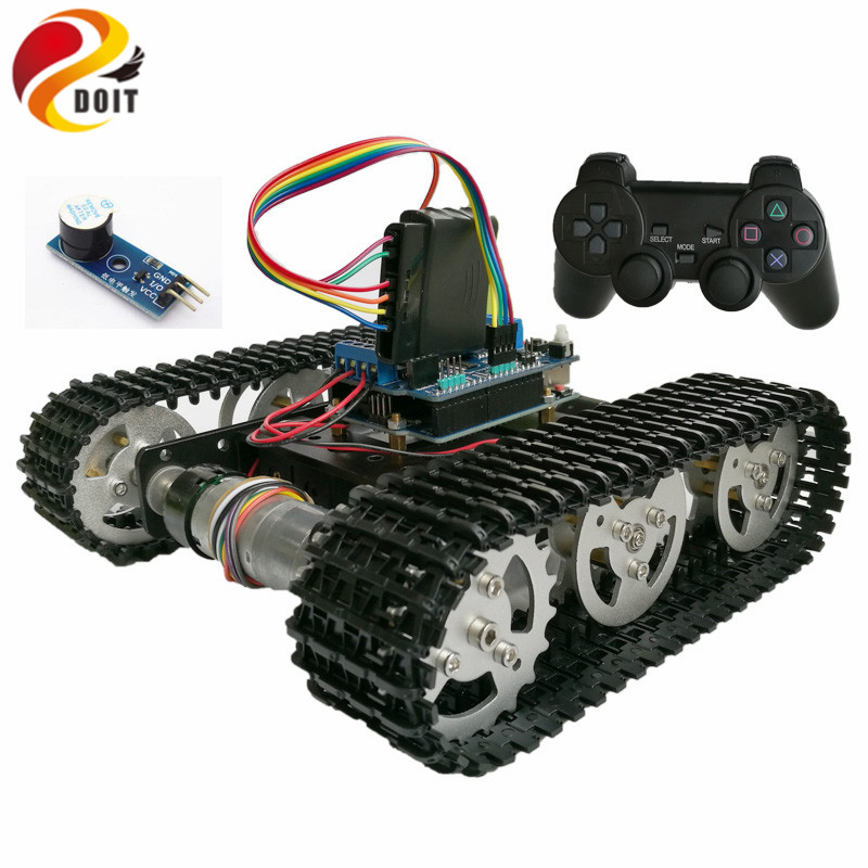 DOIT Wireless Control Smart RC Robot Kit by PS2 joystick Tank Car Chassis with Arduino Uno R3 Motor Shield DIY game playstation doit cool and new 6wd robot smart car chassis big load large bearing chassis with motor 6v150rpm wheel skid diy rc toy