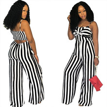 Summer New Blue Bodycon Backless Stripe Jumpsuits Women Sexy Party Clubwear