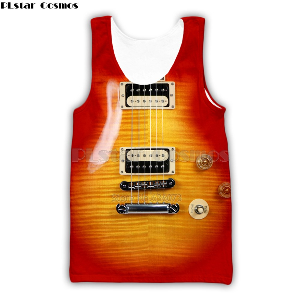 Guitar Art Musical Instrument 3D Print Fashion Vest Hip Hop Tee Style Tank Tops Streetwear Casual Tops Summer Style-5