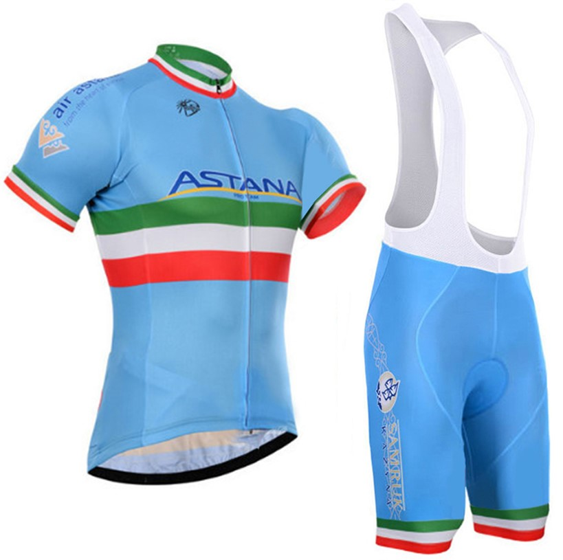 2016 astana pro team Cycling Jersey Bib Short Sets Men Summer Cycling Clothing Kits Male Breathable Mountain Bike jerseys sets
