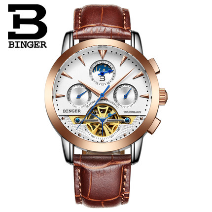 Brand Binger Hot Selling Wholesale men's luxury watches men Mechanical watch Rose Gold Leather automatic date Wristwatch binger genuine gold automatic mechanical watches female form women dress fashion casual brand luxury wristwatch original box