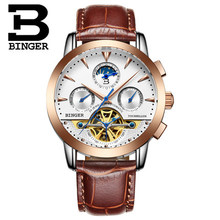 Brand Binger Hot Selling Wholesale men s luxury watches men Mechanical watch Rose Gold Leather automatic