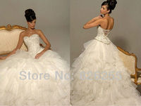 In Stock Free Shipping 2013 Cheap Popular White Ivory Sweetheart Appliques Ruffle Organza Luxury Wedding Dresses