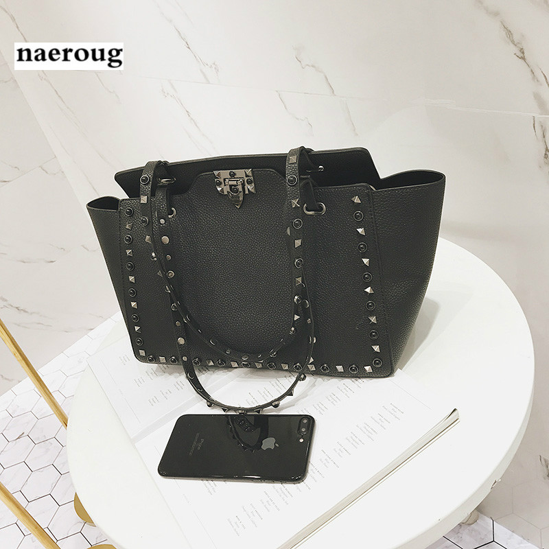 Bag for Women 2018 New Fashion Handbags Purses Studded Shoulder Bag Shopper Leather Casual Handbag Ladies Sling Bag Sac A Main