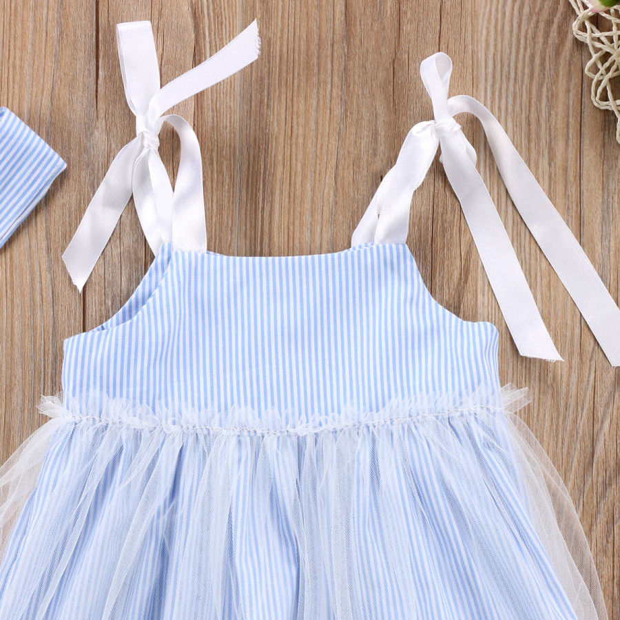 526d5ac382 Toddler Pretty Baby Girls Dress Fille Jolie Sleeveless Striped Lace Tulle  Sundress Outfit Clothing Summer Dresses 6M 4T-in Dresses from Mother   Kids  on ...