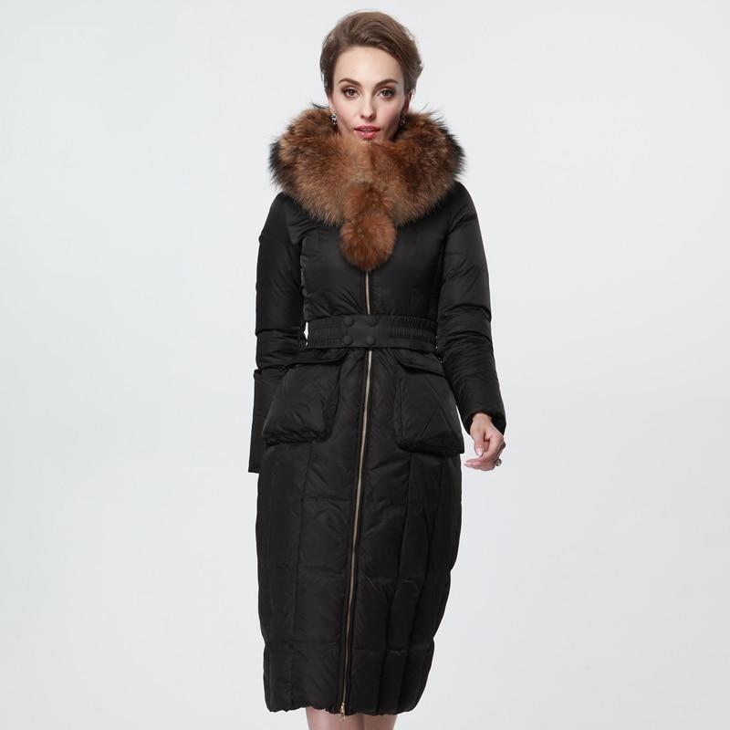 2016 new hot winter Thicken Warm woman Down jacket Coats Parkas Outerwear Hooded Raccoon Fur collar black long plus size 3XXXL цена 2016