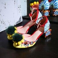 Шикарный цветочный принт, дизайн с пряжкой на лодыжке, женские туфли гладиаторы на каблуке, туфли лодочки с помпонами, женская обувь с блест