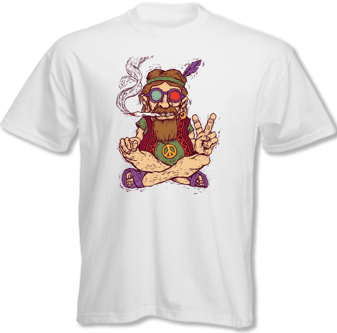 Chilled Out Hippy Smoking A Spliff – Mens Funny T-Shirt Peace Love Weed New Design Cotton Male Tee Shirt Designing Simple Style
