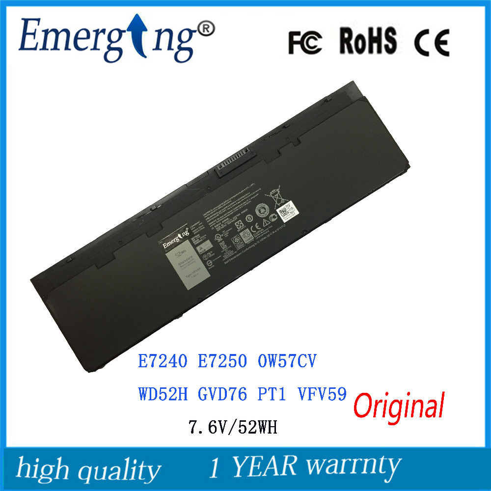7.6V 52wh New Original Battery for DELL Latitude E7240 E7250 0W57CV WD52H GVD76 PT1  VFV59 jiazijia x8vwf laptop battery 11 1v 97wh for dell latitude 14 7404 latitude e5404 vcwgn ygv51 453 bbbe x8vwf