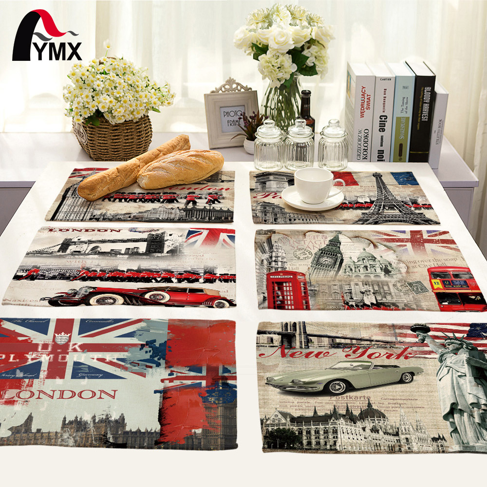 Mix 6 Style Scenic Table Napkins Printed European Retro Bell Tower Telephone Booth Cloth Porta Guardanapos Para Casamento