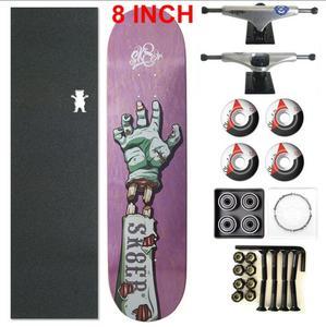 Image 2 - Skater 1 conjunto pro qualidade completa skate deck 8 polegada skate board rodas & caminhões peças de skate balancim duplo