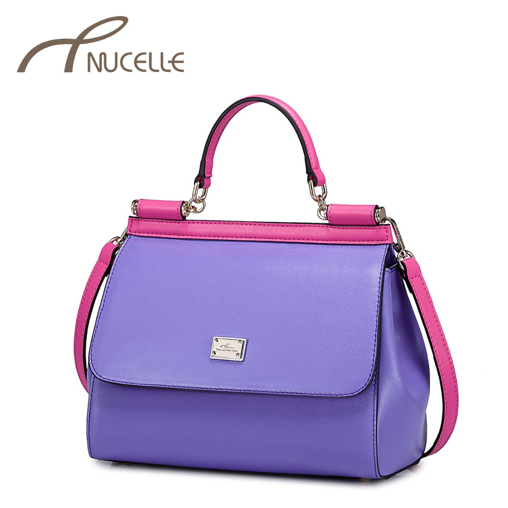 ФОТО Nucelle Women's Split Leather Handbags Ladies Candy Patchwork Match Tote Purse Female Fashion Crossbody Shoulder Bolsas NZ3657