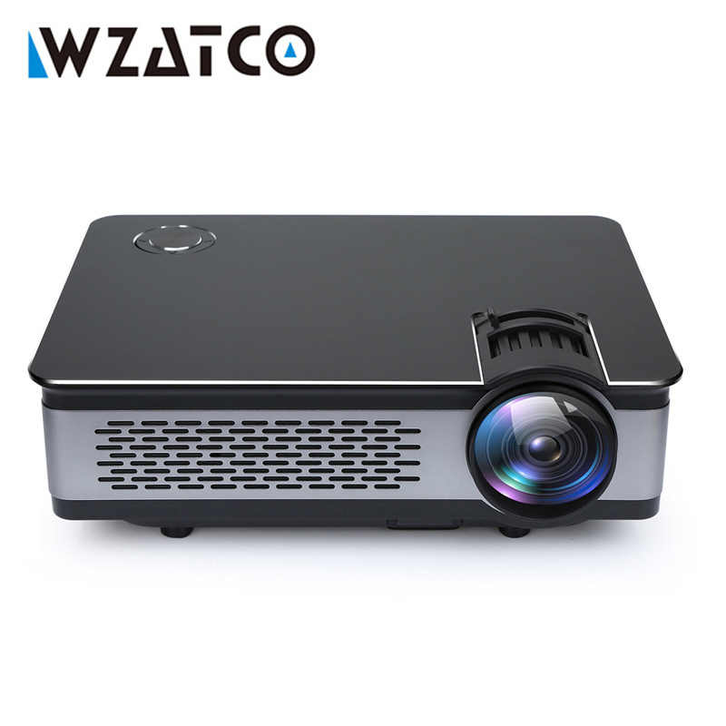 Proyector LED portátil WZATCO 1920*1080P Full HD soporte 4k video Android 9,0 Wifi opcional hogar inteligente teatro Proyector