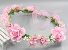 Летние Свадебные Цветочные Корона Руководитель Группы Цветочные Головки Венок Женщины Цветок Оголовье Невесты Свадебный Головной Убор Девушки Цветка Корона