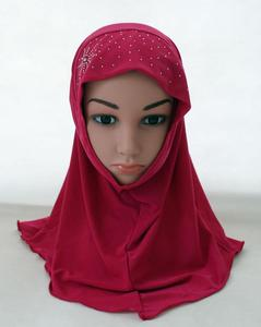 Image 5 - Kid Girls Islamic Muslim Arab Hijab Scarf School Rhinestone Child Headwear Abaya Nace Cover Bonnet Shawl Wrap Headscarf Fashion