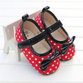 2016 Newborn Baby Girl Shoes Summer Autumn Red Cotton Dots Bow Kids Shoes Infant Toddler First Walker For Baby  Sapato Menina
