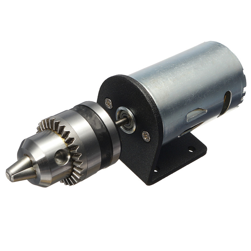 HLZS-Dc 12-36V Lathe Press 555 Motor With Miniature Hand Drill Chuck And Mounting Bracket Dc Motor