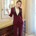 Воротник-шаль Из Двух Частей Дамы Формальных Брюки, Костюм Для Свадьбы Офис Единая Дизайн Женщины Деловые Костюмы Красный Блейзер Для работы