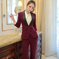 Shawl Collar Two Piece Ladies Formal Pant Suit For Wedding Office Uniform Designs Women Business Suits Red Blazer For work