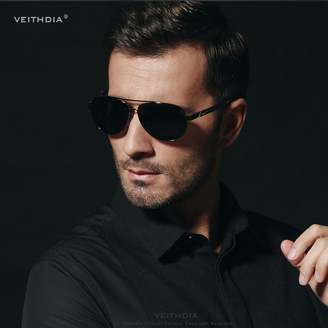 VEITHDIA-lunettes de soleil polarisées Vintage | Lunettes de soleil Design de marque Al-Mg Pilot en alliage VT2605