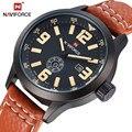 Marca NAVIFORCE Fecha Día Reloj Relogio masculino Hombres Deportes Militares de Pulsera Correa de Cuero Reloj de Los Hombres de Moda Casual Relojes de Cuarzo