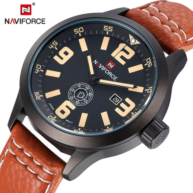 Marca NAVIFORCE Militar Data Dia Clock Correia de Couro Dos Homens de Pulso Relogio masculino Sports Watch Homens Moda Casual Relógios de Quartzo