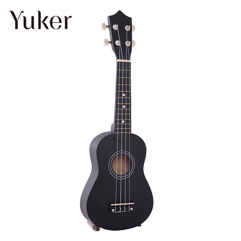 Yuker 21 Inch Mini Professional Black Vintage Acoustic Soprano Guitar Ukulele Musical Instrument For School Music Learner New irin professional mini 17 key accordion educational keyboard musical instrument for both kids