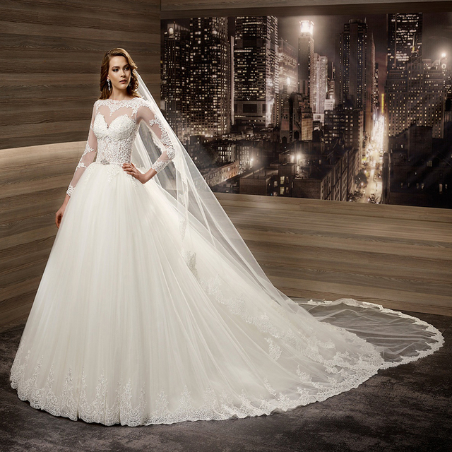 Long Sleeve Lace Wedding Gown Country Western Illusion Bodice Ivory Bridal Dresses Ball Puffy Tulle